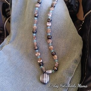 Blue agate necklace natural organic rock